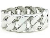 Silver Tone Wide Chain Link Bangle - Kiki's Chic Love Links