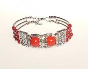 Bracelet - Tibetan Silver & Red Bead Cuff Bracelet- Kiki's Tibetan Red