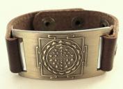 Sri Yantra Mandala Bracelet, Leather, Adjustable