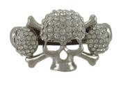 Rhinestone Encrusted Triple Skull Brown Leather Bracelet