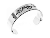 Ed Hardy Stainless Steel Signature Logo Cuff Bracelet ~ Pouched