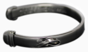 Stainless Steel Graphite Tone Classic Cuff AIDS Bracelet Large