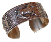 """Hand Polished Mirror Finish Solid Brass Contemporary Classic """"Running Horse"""" Equestrian Cuff Bracelet"""