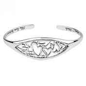 """Sterling Silver """"The Love Between A Mother and Daughter Knows No Distance"""" Heart Cuff Bracelet"""