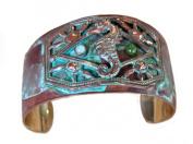 Verdigris Patina Brass Seahorse Cuff - Light Amazonite, Jade