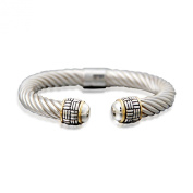 """""""Two-Tone"""" 14k Yellow Gold Plated and Sterling Silver Thick Twisted Bangle with Basket Weave Edged Cuff Bracelet"""