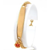 Medical ID Information Bracelet Gold Plated 17.8cm