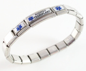 Kidney Transplant Medical ID Alert Italian Charm Bracelet