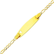 """14K Yellow Gold White Pave 2.5mm Baby Heart ID Figaro Bracelet with Lobster Claw Clasp - 6"""" Inches"""