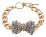 Gold with Clear Iced Out Large 3D Bow 9 Inch Cuban Chain Link 12mm Adjustable Bracelet