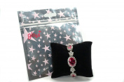 Elegant Silvertone Colour Red Rose and Clear Crystal Bracelet Fashion Jewellery