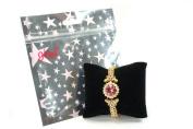 Elegant Goldtone Colour Pink and Clear Crystal Flower Bracelet Fashion Jewellery