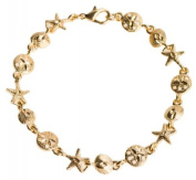 Sand Dollar Starfish and Sea Shell Gold Link Bracelet by Jewellery Nexus