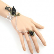 Whilte Lace w/ Black Swan Bracelet and Chained Ring Set