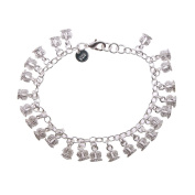 Crowns Hollow Charms Sterling Silver Plated Chain Bracelet 19.1cm
