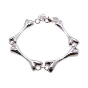 Bones Charms Sterling Silver Plated Chain Bracelet 17.8cm -19.1cm