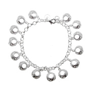 Oval Butterflies Hollow Charms Sterling Silver Plated Chain Bracelet 20.3cm