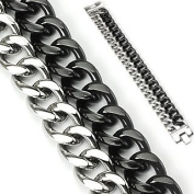 """316L Stainless Steel and IP Black Dual Band Bracelet - Length 8.66"""" (220mm) - Width 23mm"""