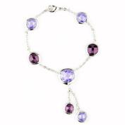 Willow Xpress Amethyst and Lavender CZ Bezel Dewdrops Silvertone Bracelet