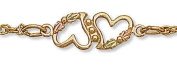 Landstroms Black Hills Gold Ankle Bracelet with dual Hearts and Leaves - 07279A