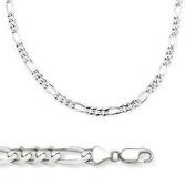 14k Solid White Gold Figaro Link Bracelet 2.5mm 7