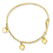 14k Polished Dangle Heart Baby Bracelet Length 15.2cm