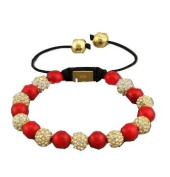 Fire Red Beads with Gold Crystal Balls Handmade Shamballa Bracelet