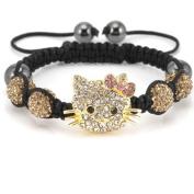 Hello Kitty Inspired Bracelet - Champagne Coloured Crystal Pave Setting Bracelet