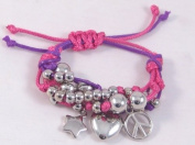 Very Cute New Pink & Purple Bracelet with Peace Sign Heart & Star