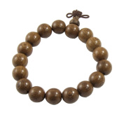 Rosallini Buddhist Brown 11mm Diameter Wooden Beads Elastic Bracelet