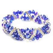 Bleek2Sheek Cobalt Blue AB Crystal and Rhinestone Stretch Bracelet