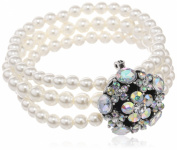 Simulated Cream Pearl Faceted Glass 3-Row Silver Tone Stretch Bracelet