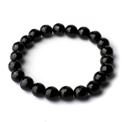 O-stone Natural Black Tourmaline Silent Power Facets Bracelet 8mm Grounding Stone Protection