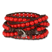 SilberDream leather bracelet with red glass spheres genuine leather LA2624R