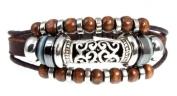. Swirl Bead Leather Zen Bracelet, 5.5 to 20.3cm Adjustable Cuff Bracelet for Women, Teens and Girls in Gift Box