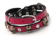 Pink Genuine Leather Wrap Designer Bracelet with Skulls and Crystals, 2x Wrap Bracelet in Gift Box