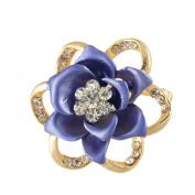 Rosallini Periwinkle Colour Rhinestone Cluster Flower Safety Pin Brooch