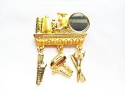 Danecraft Gold-Plated Hair Stylist Dresser Curling Iron Dryer Comb Scissors Pin Brooch