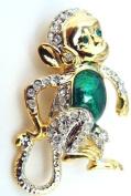 Adorable Gold Tone Green Enamel Chimpanzee Monkey Animal Pin Brooch Crystal Fashion Jewellery