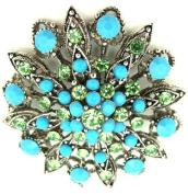 Turquoise & Peridot Green Coloured Crystal Flower Brooch Pendant on Silk Cord Ribbon Necklace