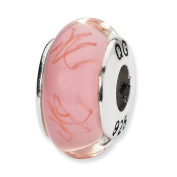 Sterling Silver Reflections Pink/Red Scribbles Hand-Blown Glass Bead