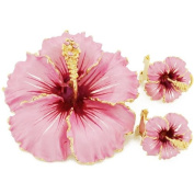 Pink Hawaiian Hibiscus With. Crystal Flower Pin Brooch And Earrings Gift Set