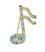 Willow Xpress Cubic Zirconia Baguette Aquamarine CZ Goldtone Music Note Pin