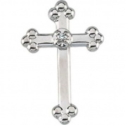 Diamond Cross Lapel Pin in 14k White Gold