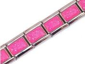 Bright Pink Shimmer Italian Charm Bracelet