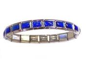 Saphire Blue Iridescent Italian Charm Bracelet