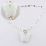 Opalite Butterfly Sterling Silver Charm Bracelet