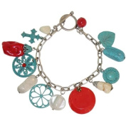 Fabulous! Faux Turquoise, Coral, Onyx and Enamelled Charms Boho Charm Bracelet with Toggle Closure!, in Turquoise with Silver Finish