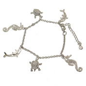 Sea Life Silvertone Charm Bracelet with Seahorse, Dolphin and Turtle Charms