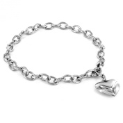 Stainless Steel Polished 21.6cm Heart Charm Bracelet